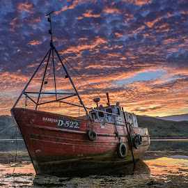 Sabrina by Malcolm Hough - Landscapes Sunsets & Sunrises ( water, mulroy bay, ireland, waterscape, sunset, sundown, sea, ocean, seascape, boat, fishing boat, donegal )