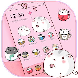 Cute Cup Cat Theme Kitty Wallpaper & icon pack For PC