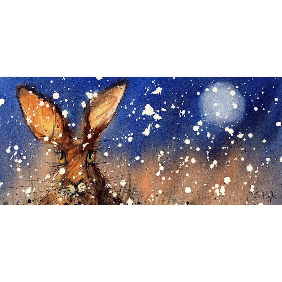 Snow hare and moon mug design