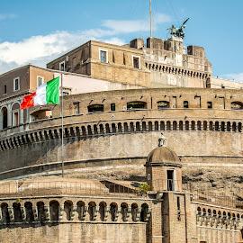 Castel Sant' Angelo by T Sco - Buildings & Architecture Public & Historical ( rome, castel sant' angelo, country, flag, castle, castel, brick, history, landmark, italy, stone )