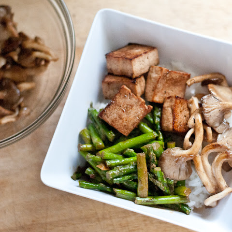 Marinated Tofu with Tahini Asparagus and Pearl Oyster Mushrooms
