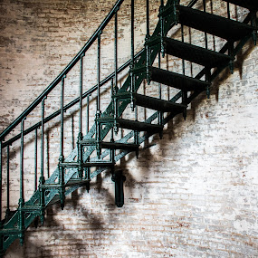 The Stairs by Thomas Shaw - Buildings & Architecture Architectural Detail ( stair, stairs, green, staircase, rail, lighthouse, ocean, bricks, beach, house, light, coast, north carolina,  )
