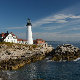 The Portland Head Light by Robert Coffey - Buildings & Architecture Public & Historical ( marine, lighthouse, ocean, atlantic, rocks )