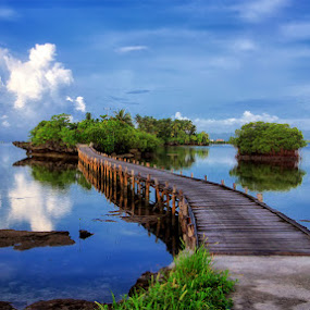 Passage To Osi Island by Alvin Lee Hahuly - Landscapes Waterscapes ( rocks sea ebb, bridge water nature, landscape )