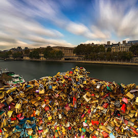Love locks at Square du Vert-Galant of the Pont Neuf, Paris by Ketan Vikamsey - Buildings & Architecture Bridges & Suspended Structures ( canonusa, kvkliks, ketanvikamsey, igerslandscape, pontneuf, photosergereview, travelawesome, lovelocks, longexpoelite, airfrance, paris, photographers_of_india, passionnateparis, lonelyplanet, natgeohd, dpeginsta, nisifilter, natgeoyourshot, guidetoparis, photoftheday, traveltheworldpix, landscape_captures, lc_india, bbctravels, travelgram, natgeotravel, picoftheday, dslrofficial, lonelyplanetmagazineindia, landscapephotography, canon5dmarkiv, canonphotography, square_du_vert_galant, longexposure, natgeotravelpic, phodus_competition, kliksubmit )