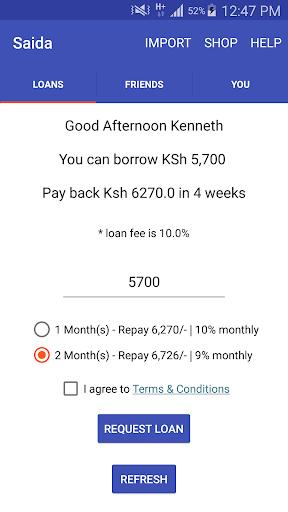 Saida - Loans to your M-Pesa screenshot 1
