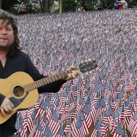 A Song for the Fallen, Boston Common Memorial Garden, Boston, MA by Mary D'Alba - People Musicians & Entertainers ( pride, flag, flags, america, boston, memorial day, boston massachusetts, massachusetts, garden )