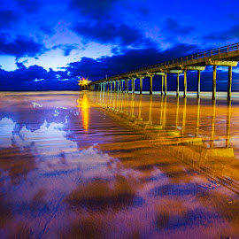 Scripps Pier at La Jolla Shores by Todd Argetsinger - Landscapes Beaches ( night photography, pier, long exposure, scenic, beach, landscape )