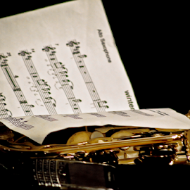 sheet music compose by Hendra Poerwita - Artistic Objects Musical Instruments ( music, saxophone, sheet music, instrument, notes, close up )