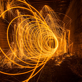 Tunnel of fire by Diana Sanderson - Abstract Fire & Fireworks ( fire tube, steelwool, sparks, fire, tunnel )
