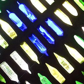 wino by Rachel Rachel - Abstract Patterns ( blue, green, glass, bottles, light )