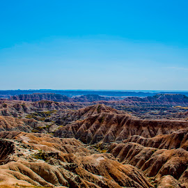 Badland view by Bill Phillips - Landscapes Caves & Formations ( blue sky, rock formations, view, landscapes, natural,  )