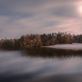A moment of calm by Anna Drobyazko - Digital Art Places ( natural light, ukraine, nature, serene, kiev, beautiful, fall, trees, rdflections, lake, scenic, earth, light )