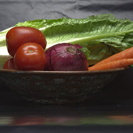 Salad Fixins by Cal Brown - Food & Drink Fruits & Vegetables ( salad, food and drink, lettuce, food, carrots, fruits and vegetables, food photography, tomatoes, close up, onion )