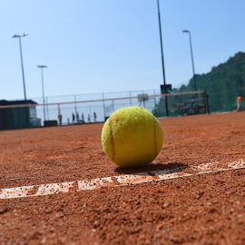 yellow ball by Kleard Germenji - Sports & Fitness Tennis ( klei, ball, sky, line, yellow, tennis )