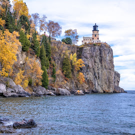 Split Rock in the Fall by Gary Hanson - Buildings & Architecture Public & Historical ( minnesota, split rock, cliff, fall, lighthouse, north shore, fall color )