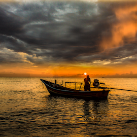 by Ryan Dominguez - Transportation Boats ( bad weather, dark clouds, sunrise, fisherman, boat,  )