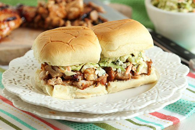Barbecue Chicken Sliders with Broccoli Blue Cheese Slaw and Kettle ...