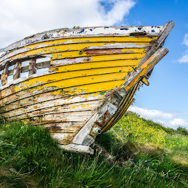 Yellow Ireland Boat by Ed & Cindy Esposito - Transportation Boats ( old, rotten, ireland, yellow, boat )