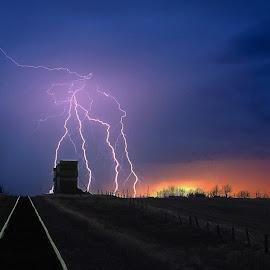 Storm Coming by Jerry Kambeitz - Landscapes Weather ( elevator, lightning, grain elevators, richmound, sunset, storm )