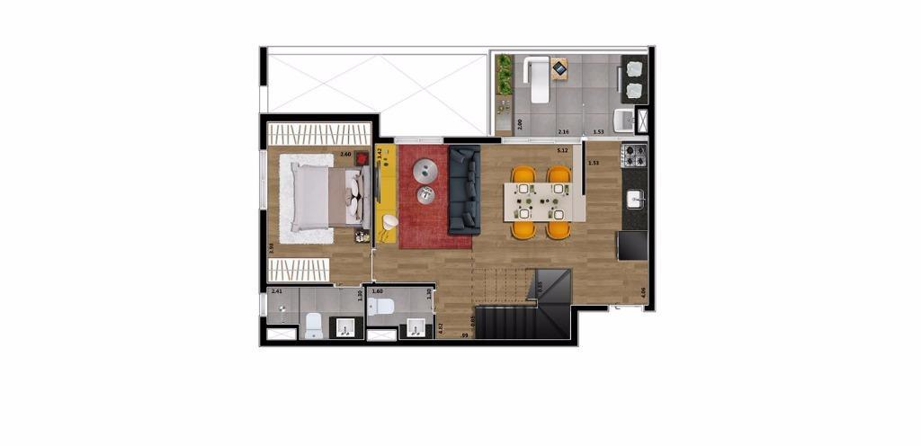 Planta Loft Inferior 82 m²