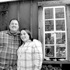 At the Farm by Mike DeLong - People Couples ( farm, window, black and white, plaid, engagement )
