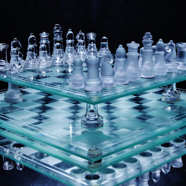Blue lights on chess boards by Peter Salmon - Artistic Objects Glass ( blue, chess, glass, light, boards )