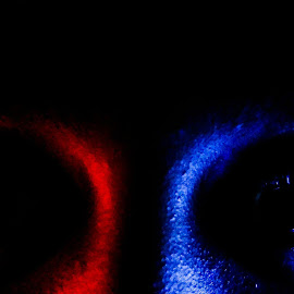 All I see. by Abhimanyu Roy - People Body Parts ( #eyes, #blue, #red, #contrast, #lights )