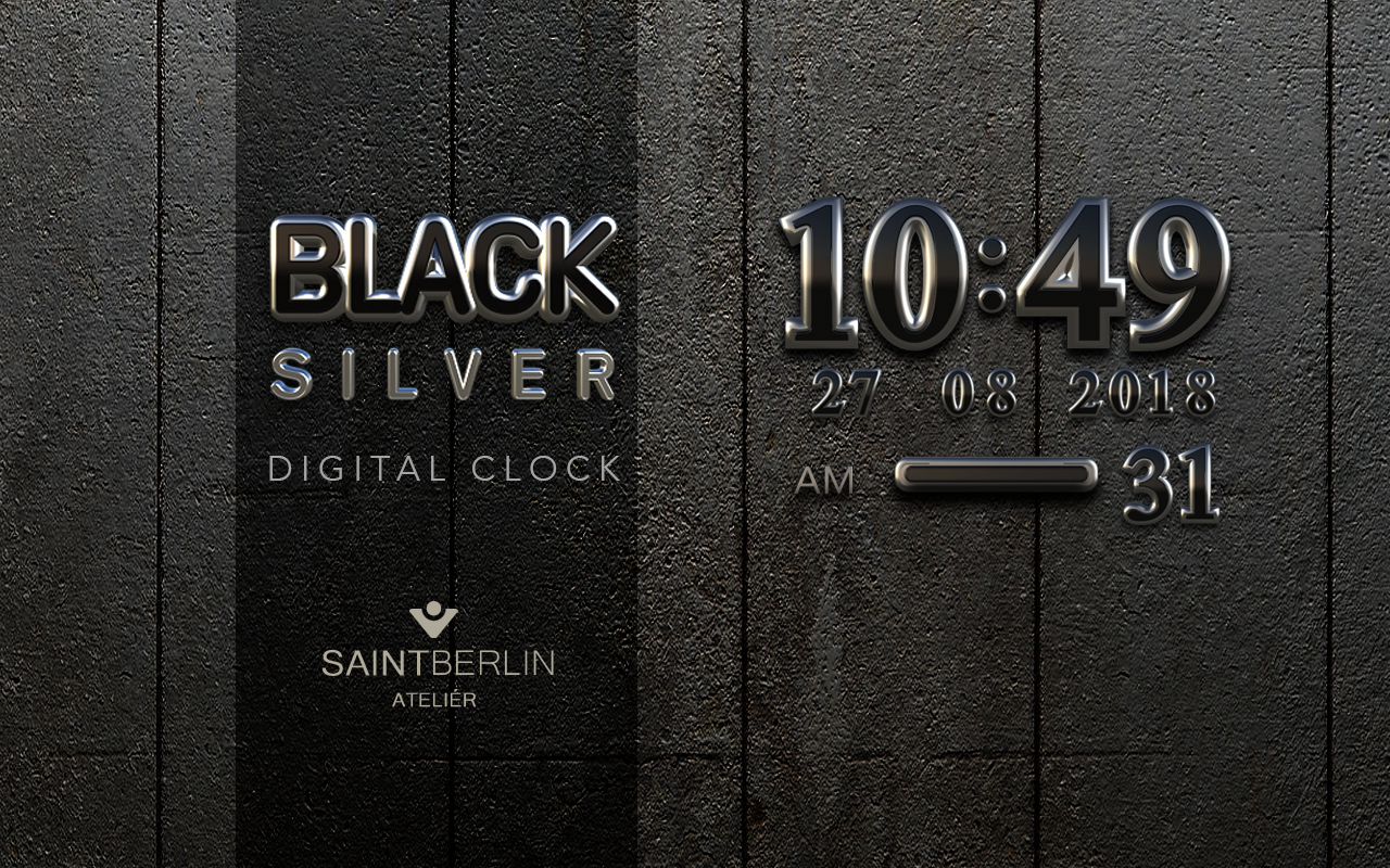 Black Digital Clock Widget Screenshot 4