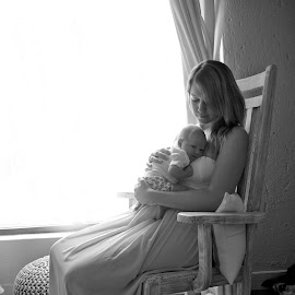 by Wendy Berning - People Family ( #baby, #mother, #newborn, #rockingchair, #window )