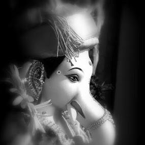 Lord Ganesh by Rajashri Joshi - Black & White Portraits & People ( hindu, god, black and white, attractive, eye, soil )
