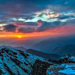 Sunset at Tunganath, Uttarakhand, India. by Arindam Chakrabarty - Landscapes Sunsets & Sunrises