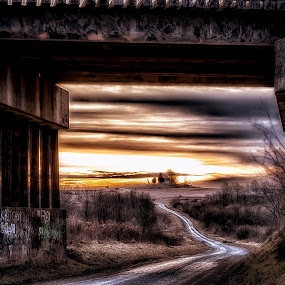 Off in the Distance  by Scott Bryan - Buildings & Architecture Bridges & Suspended Structures ( lighting, church, sunset, dramatic, road, sunrise, landscape, rural, country )