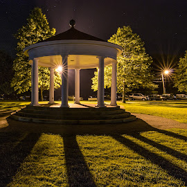 The Gazebo by Ellen Kawadler - Buildings & Architecture Other Exteriors ( structure, night photography, starbursts, gazebo, shadows )