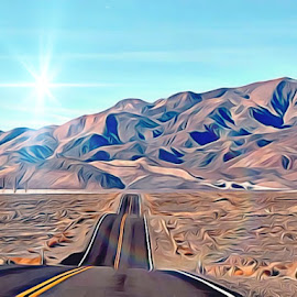 Infinity  by Irina Aspinall - Digital Art Places ( mountains, nevada, never ending, road )