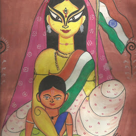 BHARAT MAATA(MOTHER INDIA) by Surjodoy Bose - Painting All Painting