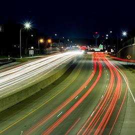 Light Speed by Johnny Sandmeyer - City,  Street & Park  Night ( highway, speed, tracers, city lights, nightlife )
