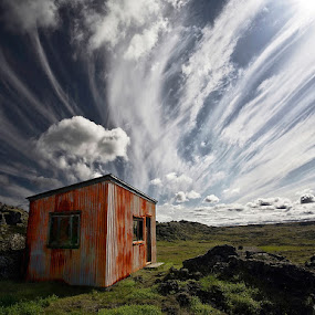 Old Shack  by Þorsteinn H. Ingibergsson - Landscapes Cloud Formations ( clouds, cabin, iceland, sky, nature, hut, shack, structor, landscape )