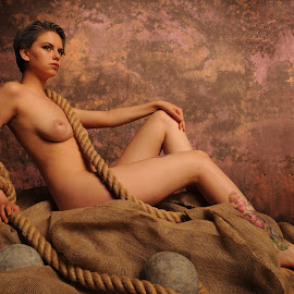Estrany on Hessian by DJ Cockburn - Nudes & Boudoir Artistic Nude ( studio, reclining, model, cannon ball, art nude, nude, sitting, rope, woman, estrany, hessian, tattoo, standing )