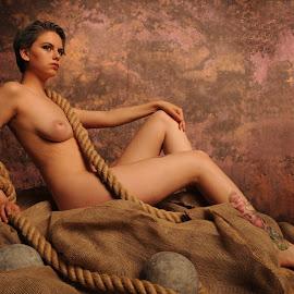 Estrany on Hessian by DJ Cockburn - Nudes & Boudoir Artistic Nude ( studio, reclining, model, cannon ball, art nude, nude, sitting, rope, woman, estrany, hessian, tattoo, standing,  )