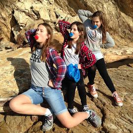 Teenage Girls by Dawn Simpson - People Group/Corporate ( girls, dummies, beach, young, posing, teenage )