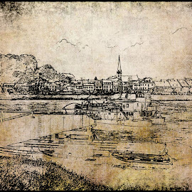 Ottensheim by Alessandro Calzolaro - Illustration Places ( elaboration, illustration, ottensheim, landscape, antique, painting, retouch, austria, river )