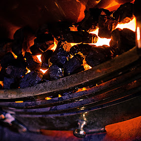 Fireplace by Hirian Raul - Artistic Objects Other Objects ( red, metal, coal, depth of field, burning, fireplace, fire )