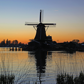The windmill  by Stephanie Veronique - Buildings & Architecture Other Exteriors ( waterscape, sunset, windmill )