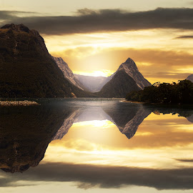 Iconic Mitre Peak Fiordland NZ by Anupam Hatui - Landscapes Mountains & Hills ( reflection, mountain, nature, waterscape, peak, scenic, landscape, fiordland )