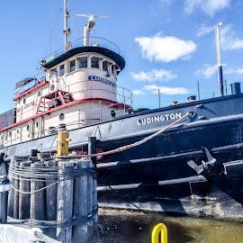 U.S.S. Ludington  by Jason Lockhart - Transportation Boats ( wisconsin, tugboat, u.s.s. ludinton, kewaunee harbor, kewaunee )