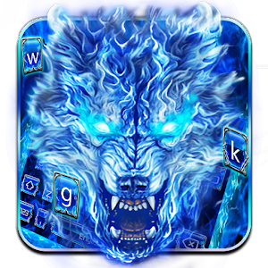 Blue Fire Grim Wolf Keyboard Theme