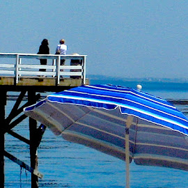 The End of the Pier by Ronnie Caplan - Buildings & Architecture Bridges & Suspended Structures ( water, blue, waves, white, pier, ocean, beach, stripes )
