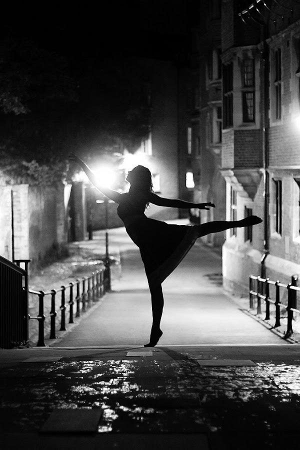 Night Arabesque by Claude Schneider - People Fine Art ( silhouette, night, ballet, ballerina, cambridge, dancer, creativity, lighting, art, artistic, purple, mood factory, lights, color, fun )