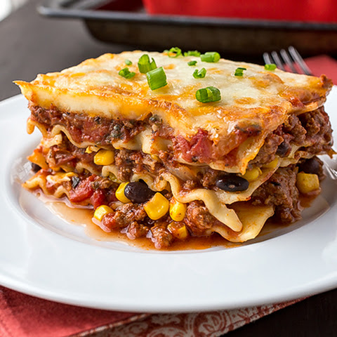 Mexican Lasagna with Fire-Roasted Tomato Sauce